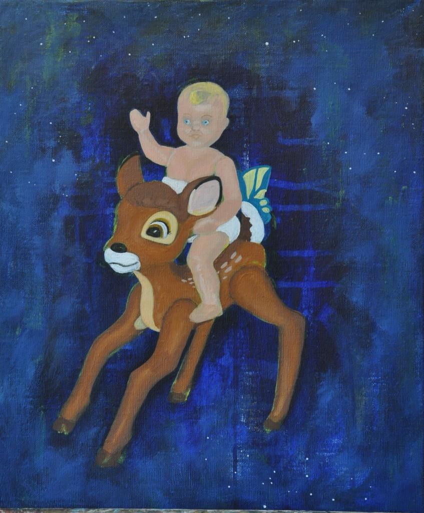 Bambi och jag, målning Marie Åström
